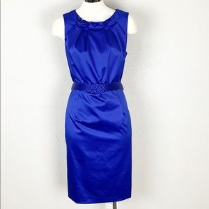 Jones Wear Cobalt Blue Belted Sheath Dress Size 10